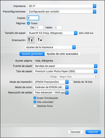 impirmir fotos en mac