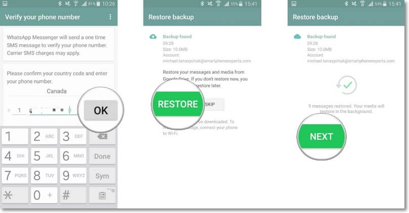 restaurar la copia de seguridad de whatsapp de Google Drive a android