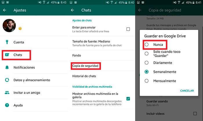 como detener la copia de seguridad de whatsapp en android