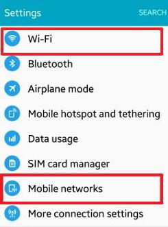Desactivar conexiones de red en android