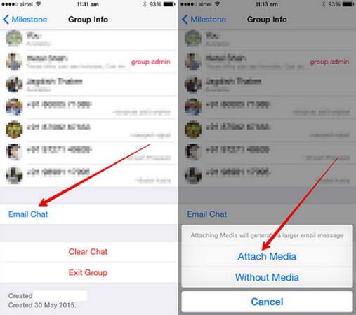 copia de seguridad whatsapp mediante email