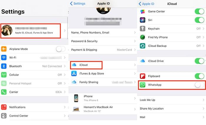 desactivar el acceso a la copia de seguridad de WhatsApp en iCloud