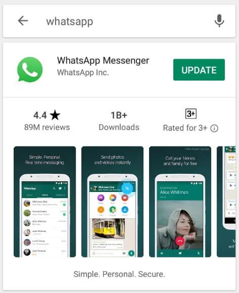 Actualizar WhatsApp para reparar descarga fallida en whatsapp