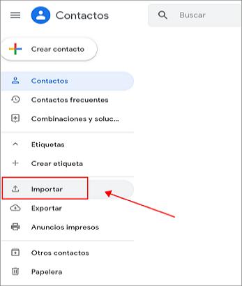 carga el archivo CSV para importar contactos a Gmail