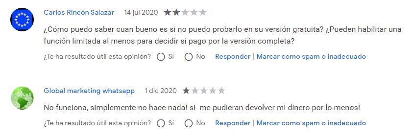 reseña de usuarios