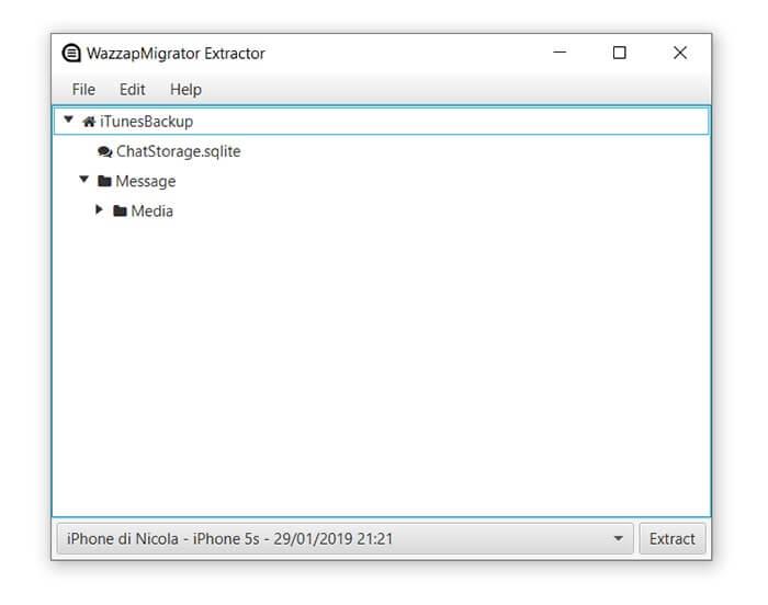 transferir archivos de copia de seguridad de iphone desde wazzapmigrator extractor