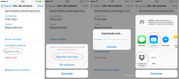 Exportar Chats de WhatsApp en iPhone