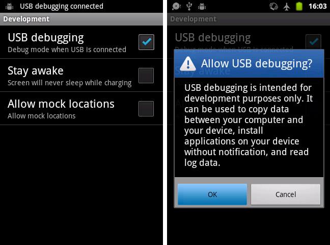 AndroidフォンでUSBデバッグを許可する