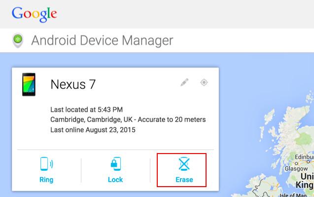 Androidデバイスマネージャーの消去オプション