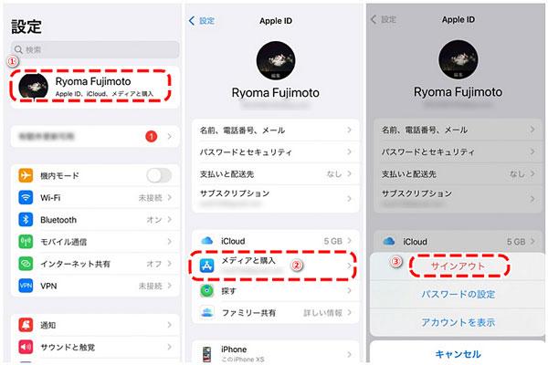 Apple IDをApp Storeからサインアウト