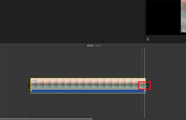 iMovieでクリップをトリミング