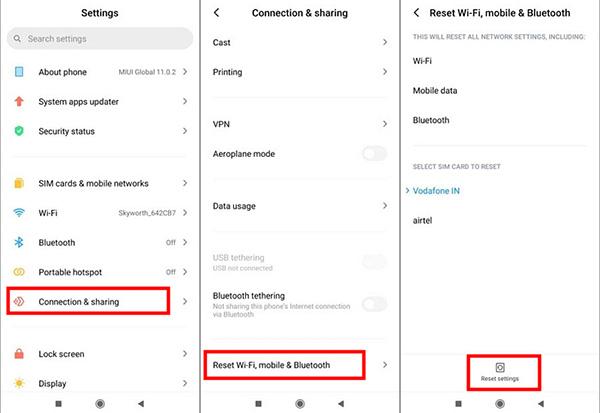 Androidのネットワーク設定をリセット