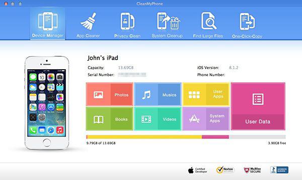 CleanMyPhone ホーム画面