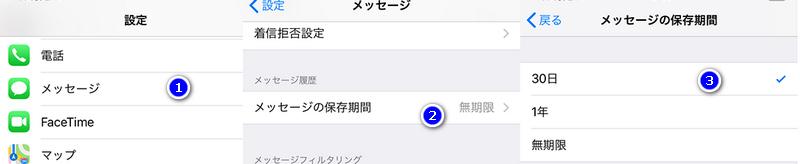 iphone メッセージの保存期限