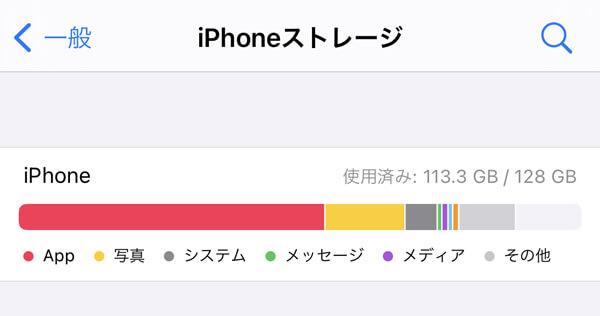 iPhoneストレージ容量を確認