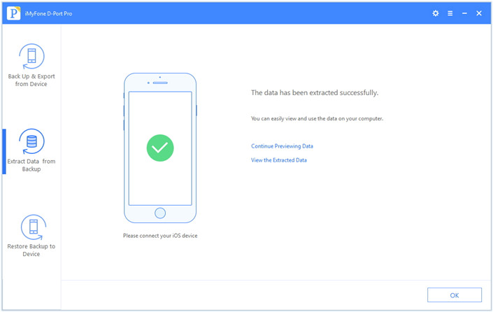 successfully extract data from iMyFone backup