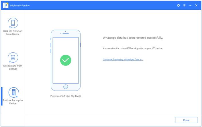 successfully restore whatsApp data