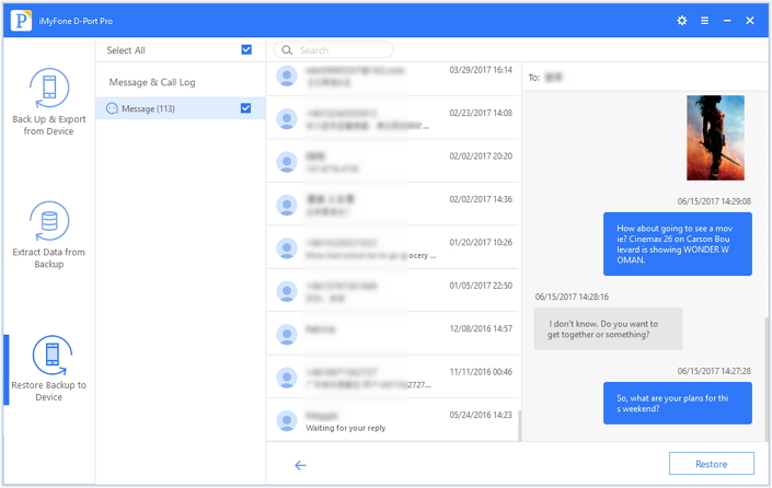 preview messages in backup