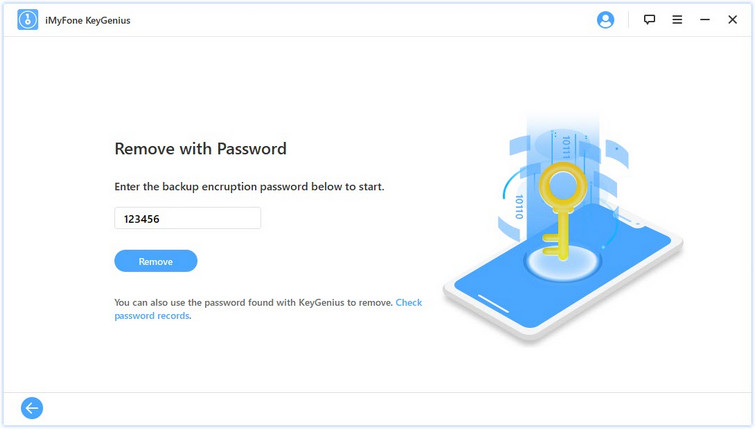remove backup encryption settings with password