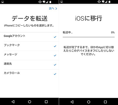 AndroidからiPhoneへデータ移行