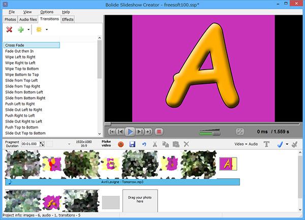 Bolide Slideshow Creatorの操作画面