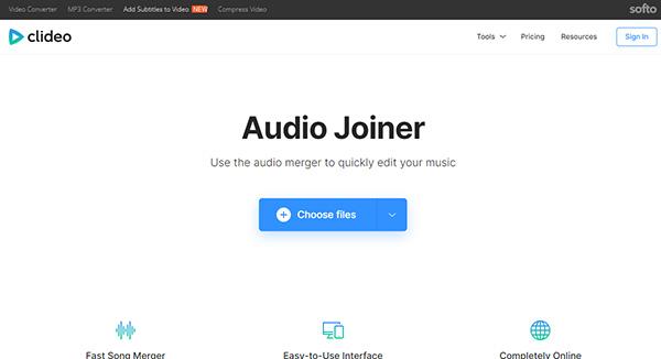 Clideo Audio Joiner ホームページ