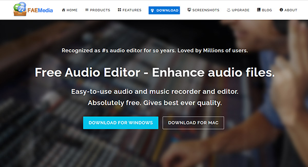 Free Audio Editor ホームページ