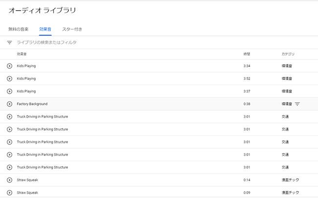 YouTube Audio Libraryのホームページ画面