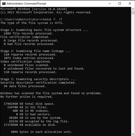 外付けHDDにChkdskコマンドを実行