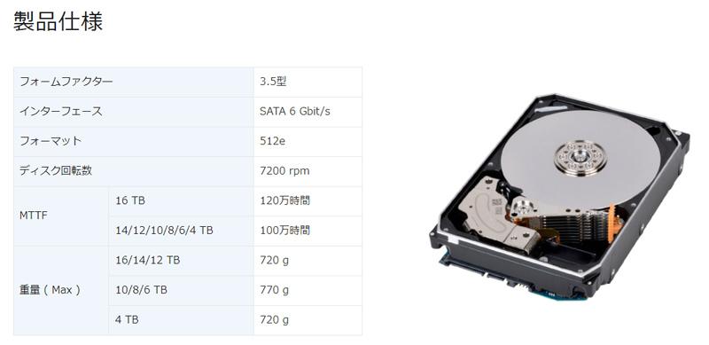 TOSHIBA HDD NASモデル・MNシリーズ