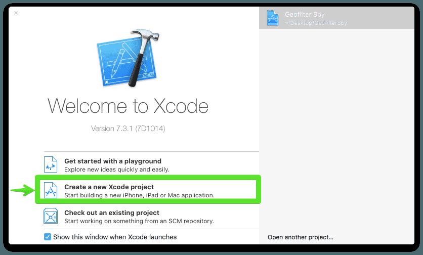 Xcode에서 새 프로그램 만들기