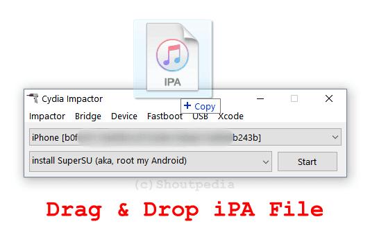 IPA를 Cydia Impactor에 끌어다 놓기