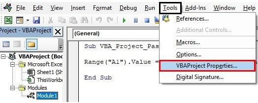 vbaproject properties