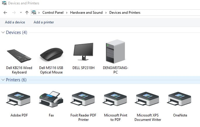 control panel printer