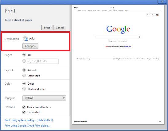 google chrome print