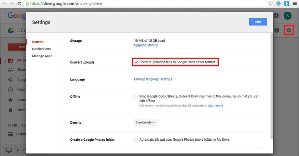 google drive settings menu