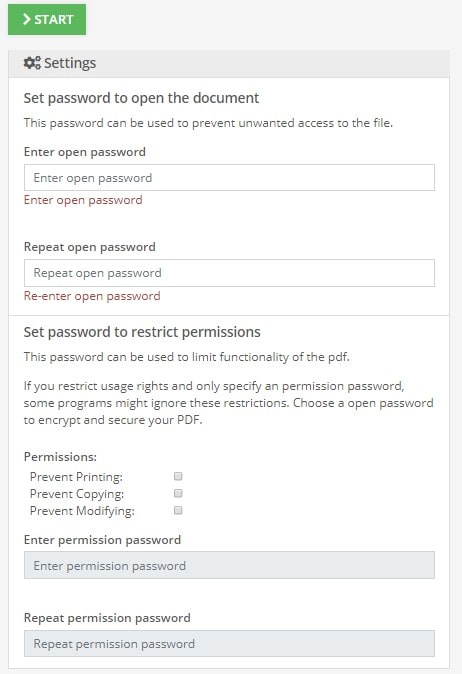 pdf2go set password