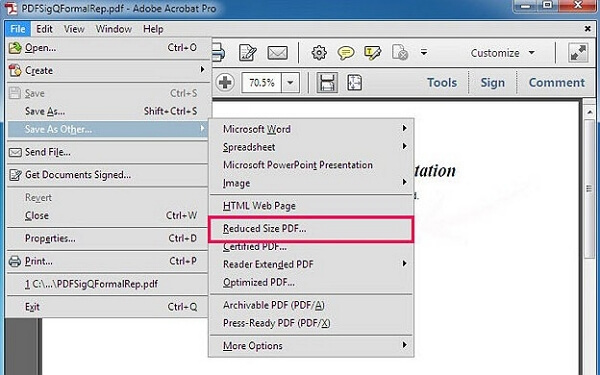 reduced pdf size