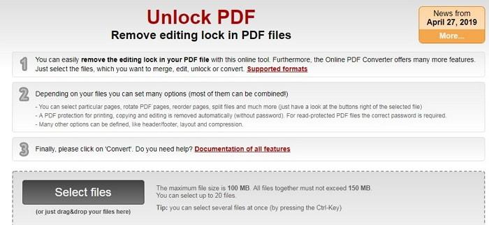 unlock pdf online2pdf