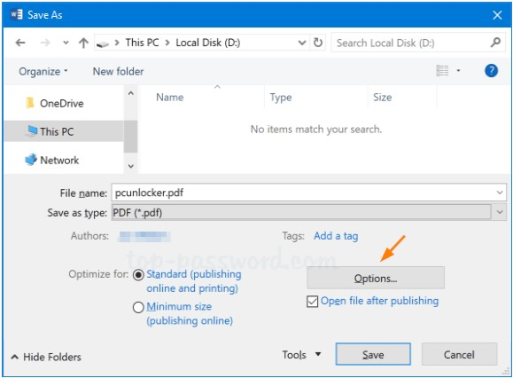 word save as pdf options