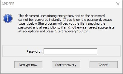 start recovery dialog