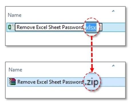 change extension xlsx to zip