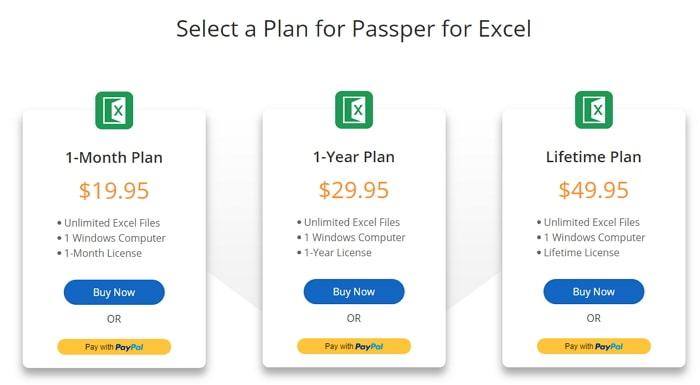 choose a license plan excel