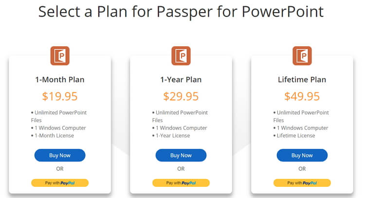 choose a plan for passper for powerpoint