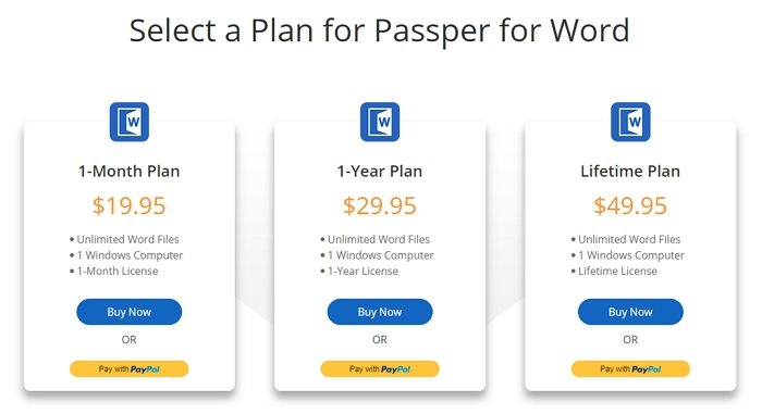 choose a plan for passper for word
