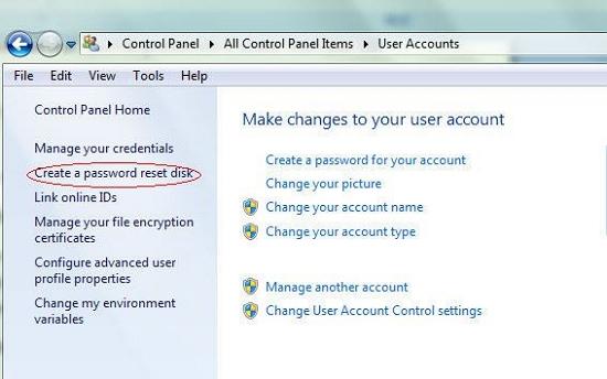 create reset disk