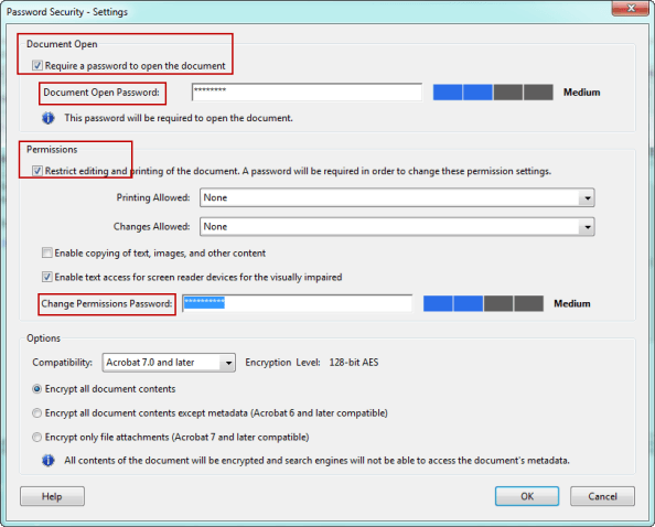 pdf open and permissions passwords