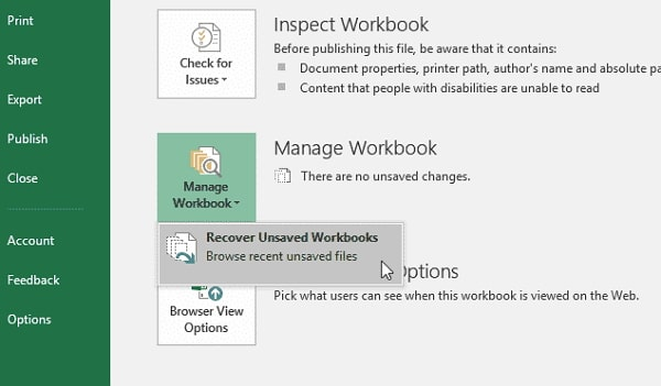 recover unsaved workbooks