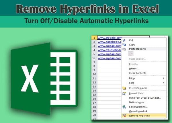 remove hyperlinks in excel